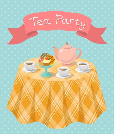 Ilustración colorido plano vertical de una fiesta de té con una tetera, tazas, donuts, magdalenas en una mesa y una cinta con la inscripción. Tarjeta del partido del té o invitación. Foto de archivo - 32568022