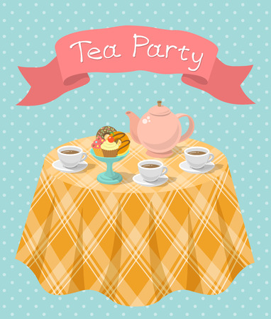 Vertical flat colorful illustration of a tea party with a kettle, cups, donuts, cupcakes on a table and a ribbon with the inscription. Tea party card or invitation.