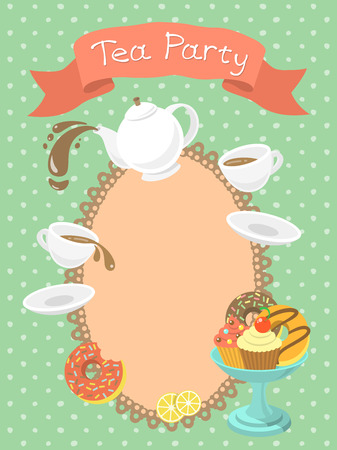 Colorful flat illustration of a tea party invitation card with a kettle, cups, donuts, cupcakes, a ribbon with the inscription and blank space for text.