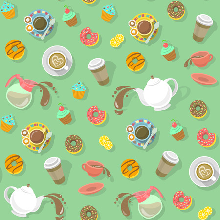 Colorful flat seamless pattern with cups of coffee and tea, cappuccino, coffee pot, strainer, donuts, sweets and paper coffee cup with shadows on a plain background, ready for creating a website background, wrapping paper, fabrics and so on Çizim