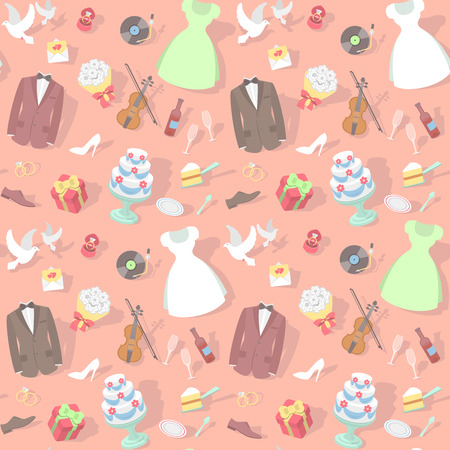 Modern flat seamless pattern with wedding accessories: wedding dresses, groom suits, wedding cakes, rings, bouquets, pigeons, violin etc. on a plain background with shadows, ready for creating a websi
