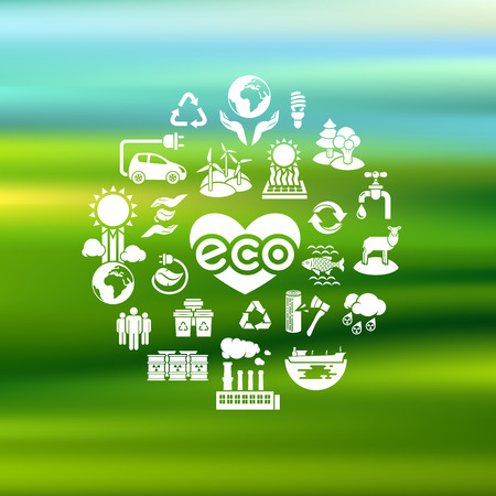 re fuel: Set of white silhouette vector icons of ecology theme on a blurred background Illustration