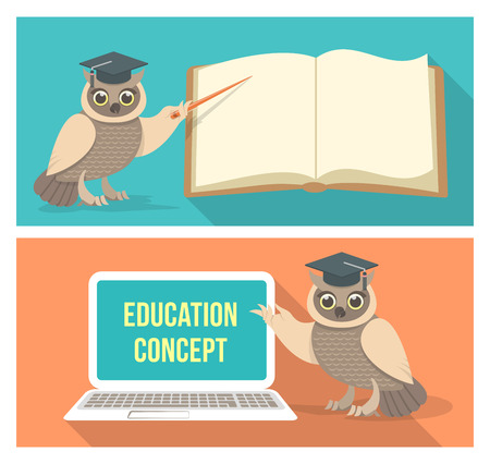 Modern flat conceptual horizontal vector illustrations of education with a wise owl which points to a book and a computer. School banners. Vector