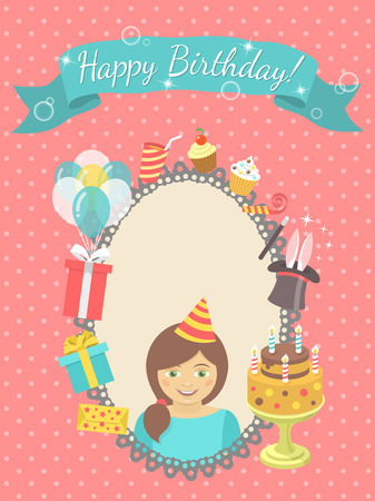 Modern flat birthday card with happy girl, gifts, balloons, birthday cake with candles, ribbon with inscription and blank space for text. Invitation for birthday party. Vector