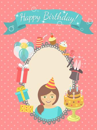 Moderne flat verjaardagskaart met gelukkig meisje, geschenken, ballonnen, verjaardagstaart met kaarsen, lint met inscriptie en een lege ruimte voor tekst. Uitnodiging voor verjaardagsfeestje.