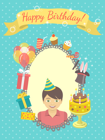 Modern flat birthday card with happy boy, gifts, balloons, birthday cake with candles, ribbon with inscription and blank space for text. Invitation for birthday party. Vector