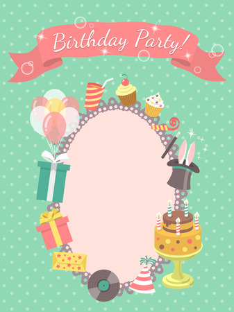 birthday party invitation: Modern flat birthday party invitation card with birthday symbols, such as gifts, balloons, birthday cake with candles, with inscription on a ribbon and blank space for text.