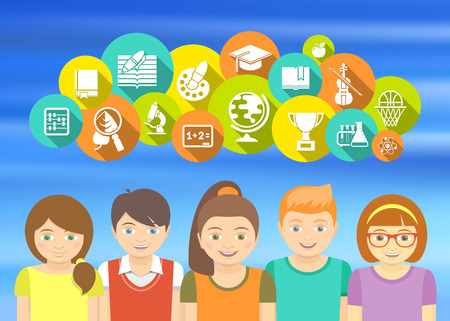 Horizontal flat colorful vector illustration with a group of excited kids who are happy to study. Educational icons and concepts on blurred background Illustration