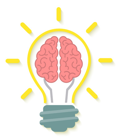 Conceptual flat icon of brain and idea in the form of light bulb with soft shadow isolated on white Çizim