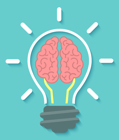 Conceptual flat icon of brain and idea in the form of light bulb with soft shadow on a blue background