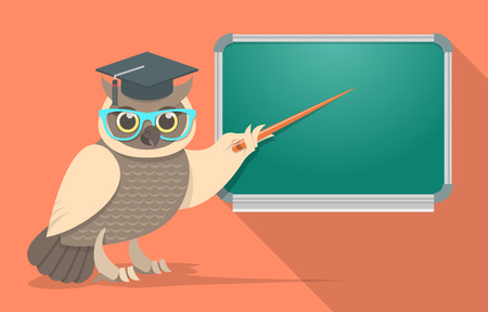blackboard cartoon: Flat vector illustration of a wise owl in a mortar board and glasses showing a pointer at a green school board. Educational banner. Teacher or instructor concept.