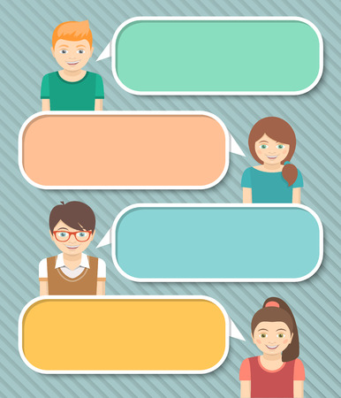 empty space for text: Modern flat vector colorful infographics elements with happy smiling boys and girls telling some information by speech bubbles with empty space for text