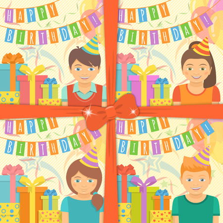 Collection of four Birthday greeting cards for boys and girls with gifts and balloons in flat style. Set is tied with a red ribbon and a bow. Vector