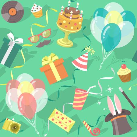 現代平らなベクトルのギフト用の箱、風船、誕生日ケーキ、マジック トリック、パーティー ハットなどのカラフルなアイコンとシームレスな誕生日