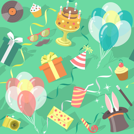 event party festive: Modern flat vector seamless birthday party pattern with colorful icons of gift boxes, balloons, birthday cake, magic tricks, party hat etc. Invitation card, wrapping paper or website background design Illustration
