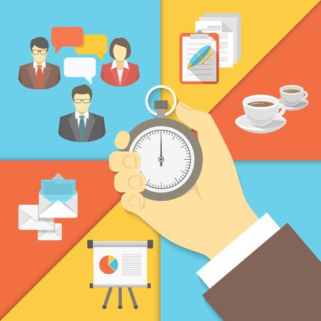 reunion de trabajo: Ilustraci�n vectorial de negocios moderno plano conceptual de la gesti�n del tiempo con un cron�metro en la mano y un hombre de negocios que trabajan s�mbolos de actividad de reuni�n de negocios, descanso para tomar caf�, la planificaci�n, la presentaci�n y env�o por correo de negocios