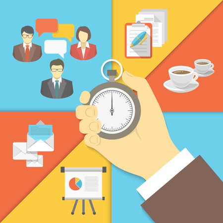 lunch meeting: Modern flat conceptual vector business illustration of the time management with a stopwatch in a businessman hand and working activity symbols of business meeting, coffee break, planning, presentation and business mailing