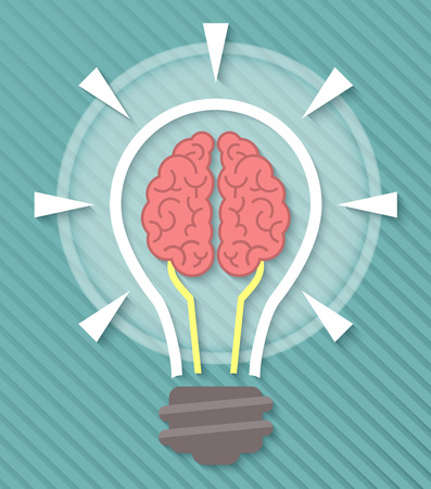 conceptual bulb: Conceptual flat icon of brain and idea in the form of light bulb with soft shadow on a blue striped background. Education symbol