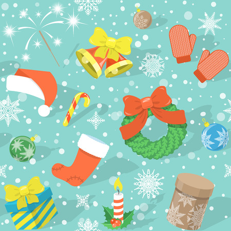 omela: Modern flat colorful seamless holiday pattern with Christmas Symbols: Christmas bells, Santa cap, Christmas wreath, stocking, gift boxes, candle, Bengal light, Christmas balls, mittens, snowflakes etc. on a plain background with shadows
