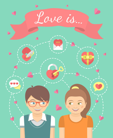 Conceptual vector flat illustration of a boy and a girl in love with dating symbols. Love infographics.