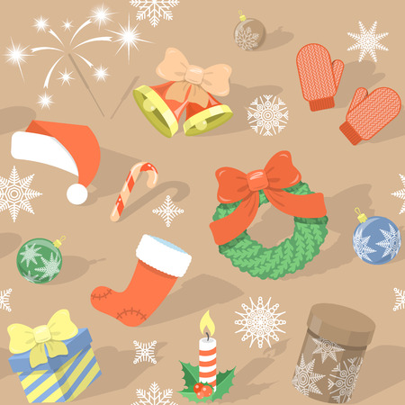 santa cap: Modern flat colorful seamless holiday pattern with Christmas Symbols: Christmas bells, Santa cap, Christmas wreath, stocking, gift boxes, candle, Bengal light, Christmas balls, mittens, snowflakes etc. on a plain background with shadows