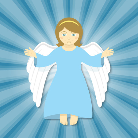christmas prayer: Vector cartoon illustration of flying angel with open arms, smiling in the rays of light on a blue background. Christmas character. Religious symbol.