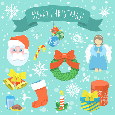 omela: Set of cartoon vector Christmas icons with Santa Claus face, decorations, gifts, angel, snowflakes, ribbon with a congratulation and other Christmas symbols on the snowfall background