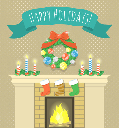 mantel: Vector cartoon holiday illustration of Christmas fireplace with candles, burning fire, socks for gifts, Christmas wreath and ribbon with congratulation. Christmas greeting card or invitation design