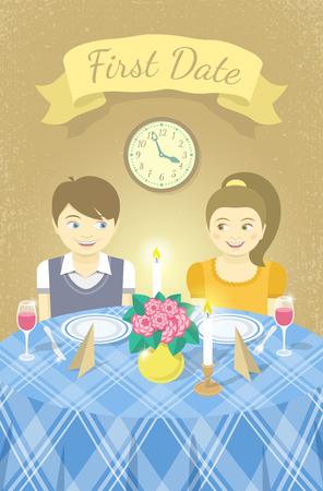 first love: Vector childish illustration of a happy boy and a girl in love with each other on a romantic date in a restaurant at the table. Valentines Day card design with a ribbon for an inscription Illustration