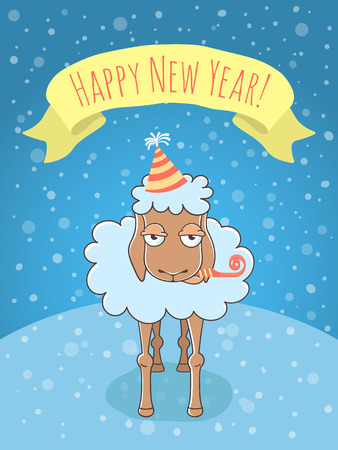 skeptic: Vector cartoon colorful holiday illustration of a lamb on a snowy background in a party hat and with a whistle. New Year character with a ribbon. Chinese horoscope symbol of 2015