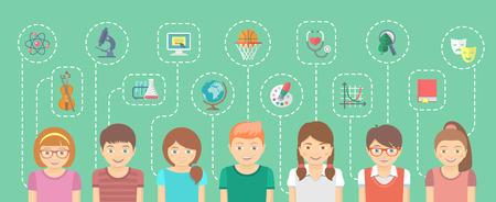 Vector ilustración de dibujos animados horizontal plana de un grupo de niños con los iconos de sus diferentes intereses conectados por líneas de puntos. Elemento de infografía para la Educación. Concepto de la escuela.