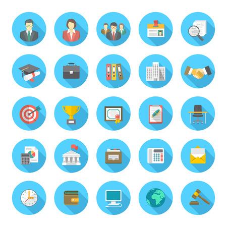 Conjunto de iconos circulares planas modernas, adecuadas para la hoja de vida de negocios y la búsqueda de los recursos humanos de una empresa Ilustración de vector