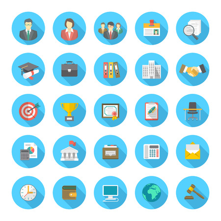 Set of modern flat round icons suitable for business resume and the searching of human resources for a company Çizim
