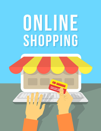 e store: Modern flat vector conceptual illustration of an online payment in the Internet shop by a credit card using a laptop. Concept of e-commerce and online shopping. Illustration