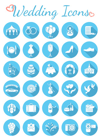 Set of modern flat round vector icons for organization of wedding party. White silhouette interface icons with long shadows for web or mobile application