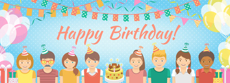 kids birthday party: Modern flat colorful vector birthday party banner with group of kids in festive caps and balloons, garlands, flags, streamers, gifts. Holiday horizontal background. Illustration