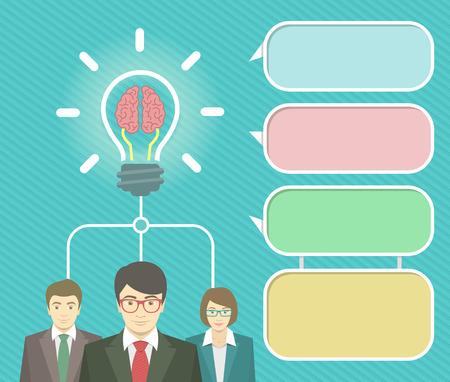 Modernos elementos infográficos vector planas para información nueva idea de negocio, puesta en marcha, la colaboración o el trabajo en equipo. Grupo de trabajadores de oficina en trajes de negocios. Concepto de lluvia de ideas