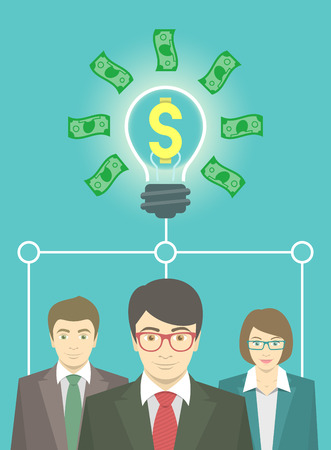 starting: Modern flat vector conceptual illustration of a new business idea information, startup, collaboration or teamwork. Group of office workers in business suits. Money idea in the form of light bulb Illustration