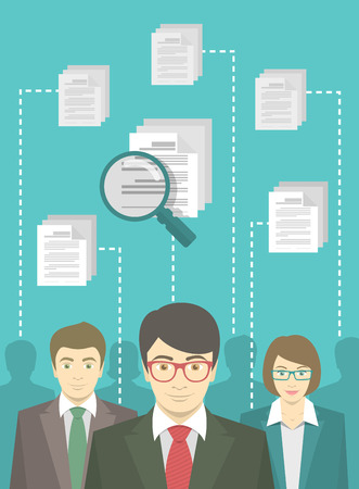 Vector flat conceptual illustration of human resources management, searching for perfect staff, analysing resume, head hunting concept. Group of applicants of different genders in business suits  イラスト・ベクター素材