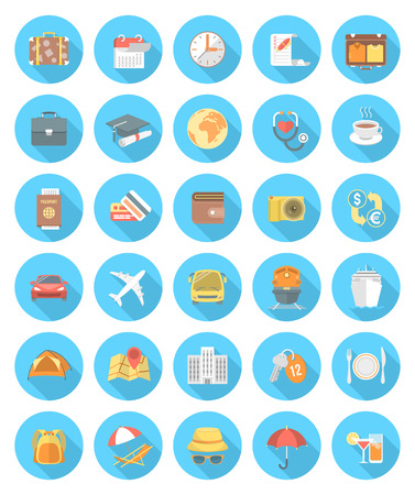 Set of modern flat round traveling icons with long shadows. Collection of symbols and accessories for business, education and family traveling. Different types of transportation