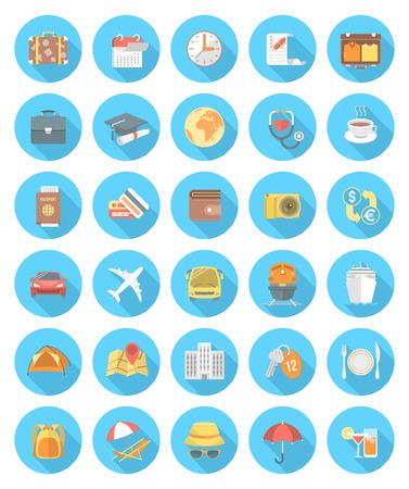 Set di icone rotonde piatte moderne con lunghe ombre. Collezione di simboli e accessori per viaggi d'affari, d'istruzione e di famiglia. Diversi tipi di trasporto Archivio Fotografico - 35844873
