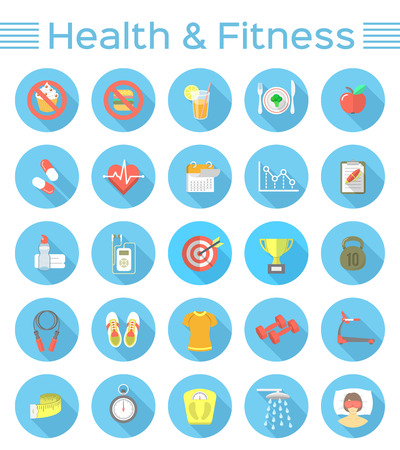 Icone moderne di vettore piatto di stile di vita sano, fitness e attività fisica. Dieta, allenamento in palestra, attrezzature per l'allenamento e abbigliamento. Icone di benessere per siti Web, applicazioni mobili o annunci stampati