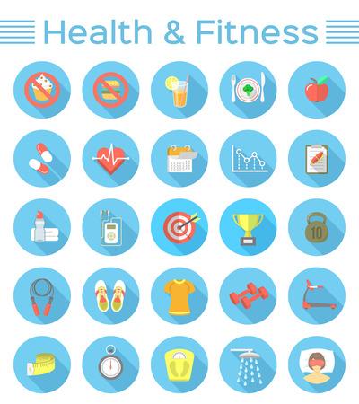 actividad fisica: Modernos iconos vectoriales plana de estilo de vida saludable, la aptitud y la actividad f�sica. Dieta, ejercicio en el gimnasio, equipo de entrenamiento y ropa. Iconos de bienestar para el sitio web, la aplicaci�n o imprimir los anuncios para m�viles