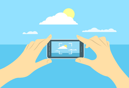 travel phone: Modern flat conceptual vector illustration of taking a shot of a landscape by mobile phone. Human hands hold smartphone focused on skyline. Picture for memory during travel Illustration
