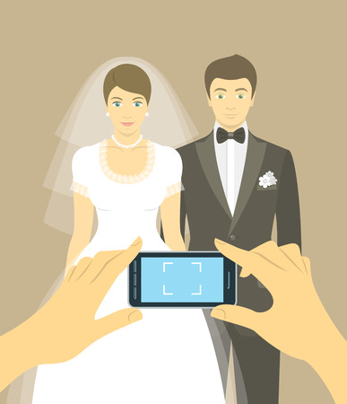 woman cellphone: Modern flat vector conceptual illustration of taking wedding photo of bride and groom by mobile phone. Snapshot for memory of happy newlyweds Illustration