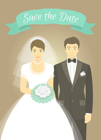 bride and groom background: Modern flat stylized illustration of wedding portrait of bride and groom with a decorative ribbon Illustration