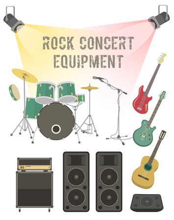 concert stage: Set of modern flat illustration of musical instruments and sound equipment for rock concert, festival, club party