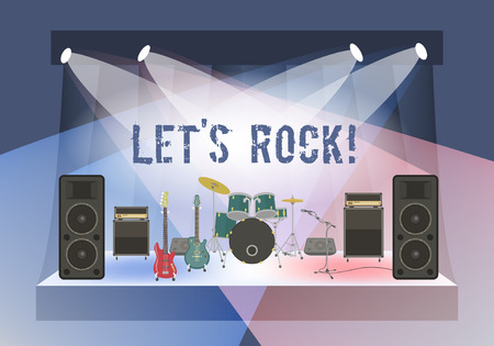 Modern flat vector illustration of rock concert stage with musical instruments and sound equipment. Rock concert organization conceptual background. Rock festival or club party poster Vectores