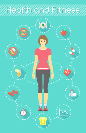 Modern flat vector fitness infographics element. Slim girl in sportswear with conceptual icons of shaping and healthy life