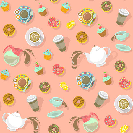 donut shop: Colorful flat seamless vector pattern with cups of coffee and tea, cappuccino, coffee pot, donuts, sweets and paper coffee cup for creating a website background, wallpaper, wrapping paper, fabrics etc Illustration